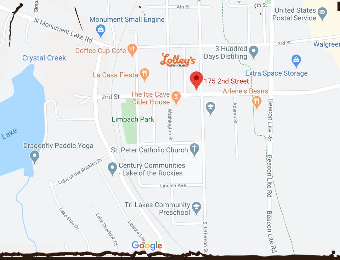Address:<br> 175 2nd Street, <br> Monument CO 80132 <br> <br> Hours:<br> M: Closed<br> T-Th: 11am-8pm<br> F-Sat: 11am-9pm<br> Sun: 12-8pm